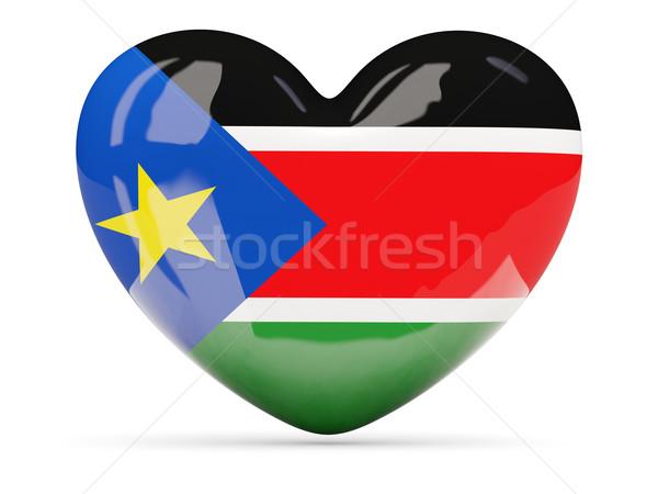 Szív alakú ikon zászló dél Szudán Stock fotó © MikhailMishchenko