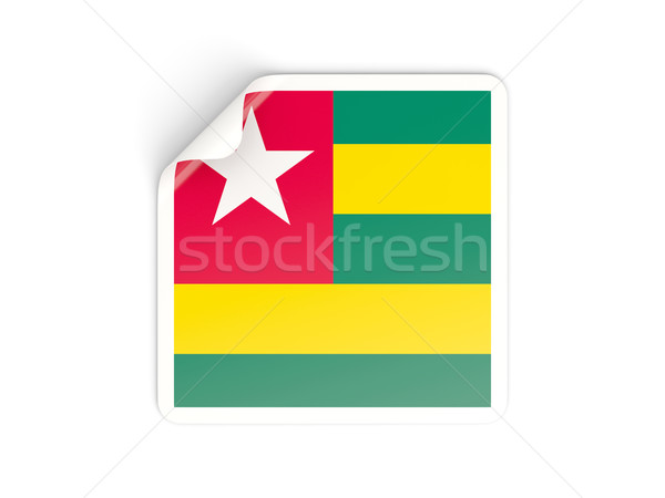 Piazza adesivo bandiera Togo isolato bianco Foto d'archivio © MikhailMishchenko