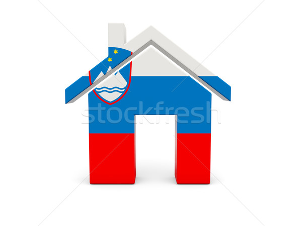 Ev bayrak Slovenya yalıtılmış beyaz güvenlik Stok fotoğraf © MikhailMishchenko