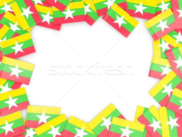 Keret zászló Myanmar izolált fehér Stock fotó © MikhailMishchenko