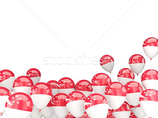 Voador balões bandeira Cingapura isolado branco Foto stock © MikhailMishchenko