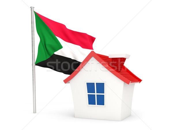 Huis vlag Soedan geïsoleerd witte home Stockfoto © MikhailMishchenko