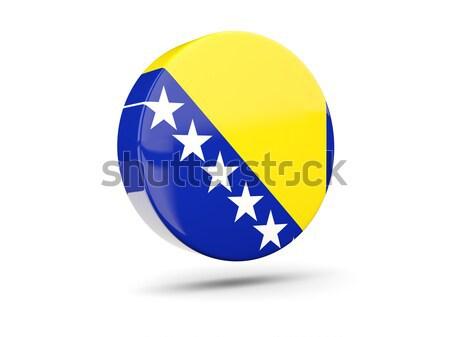 Icono bandera Bosnia Herzegovina signo blanco Foto stock © MikhailMishchenko