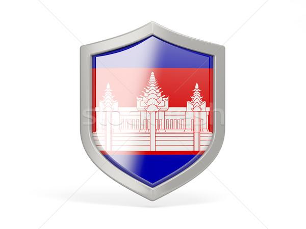Escudo ícone bandeira Camboja isolado branco Foto stock © MikhailMishchenko