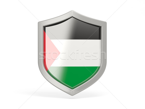 Stock photo: Shield icon with flag of palestinian territory