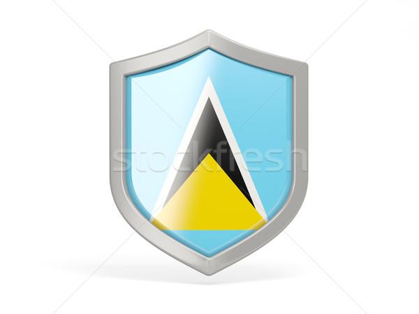 Shield icon with flag of saint lucia Stock photo © MikhailMishchenko