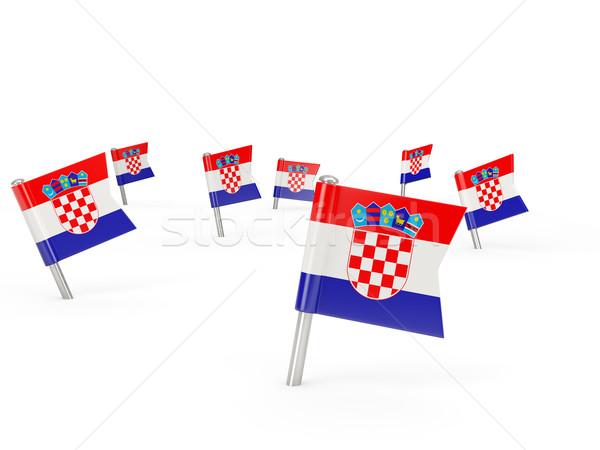 Carré pavillon Croatie isolé blanche pays Photo stock © MikhailMishchenko