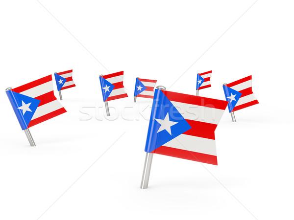 Vierkante vlag Puerto Rico geïsoleerd witte land Stockfoto © MikhailMishchenko