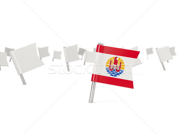 Piazza pin bandiera francese polinesia isolato Foto d'archivio © MikhailMishchenko