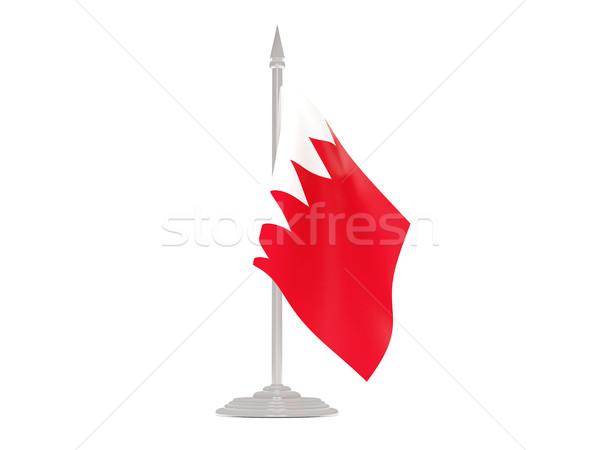 Banderą Bahrajn maszt 3d odizolowany biały Zdjęcia stock © MikhailMishchenko