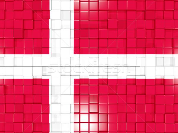 Tér alkatrészek zászló Dánia 3d illusztráció mozaik Stock fotó © MikhailMishchenko