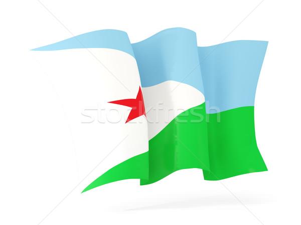 Banderą Dżibuti 3d ilustracji odizolowany biały Zdjęcia stock © MikhailMishchenko