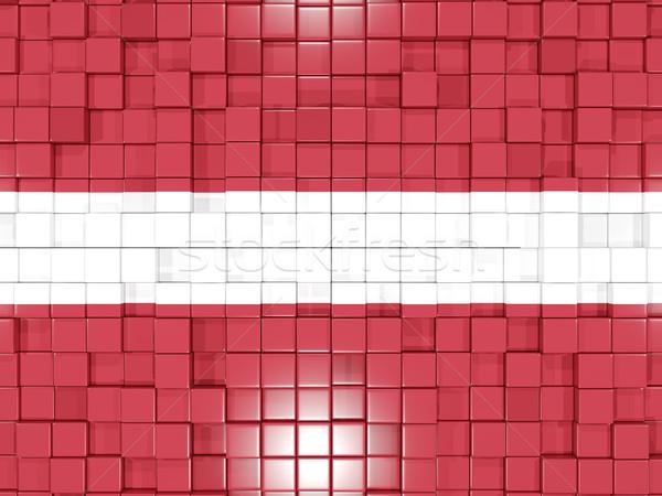 Kare bayrak Letonya 3d illustration mozaik Stok fotoğraf © MikhailMishchenko