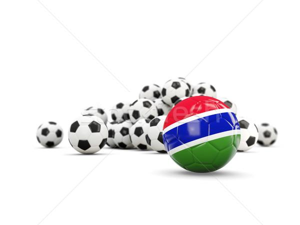 Piłka nożna banderą odizolowany biały 3d ilustracji sportu Zdjęcia stock © MikhailMishchenko