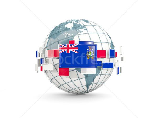 Földgömb zászló dél szendvics szigetek izolált Stock fotó © MikhailMishchenko