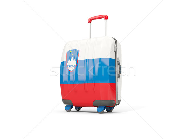 Luggage with flag of slovenia. Suitcase isolated on white Stock photo © MikhailMishchenko