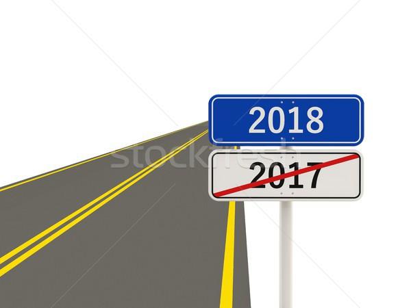 Stok fotoğraf: Yılbaşı · simge · yol · işareti · 3d · illustration · imzalamak · mavi