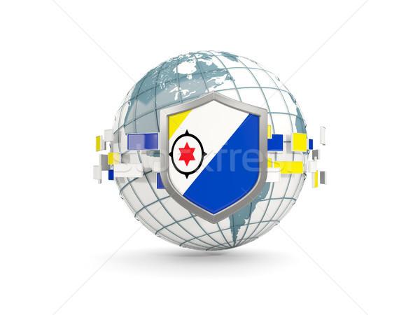 Globe and shield with flag of bonaire isolated on white Stock photo © MikhailMishchenko