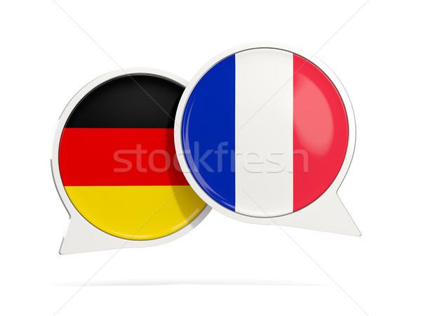 Chat buborékok Németország Franciaország izolált fehér Stock fotó © MikhailMishchenko