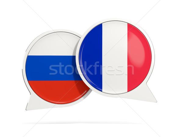 чате пузырьки Россия Франция изолированный белый Сток-фото © MikhailMishchenko