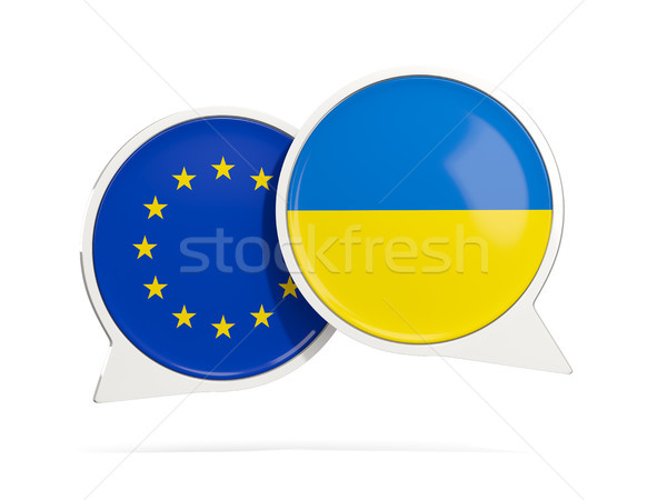 Chat bubbles of EU and Ukraine isolated on white Stock photo © MikhailMishchenko
