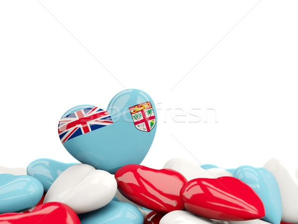 Coração bandeira Fiji topo corações isolado Foto stock © MikhailMishchenko