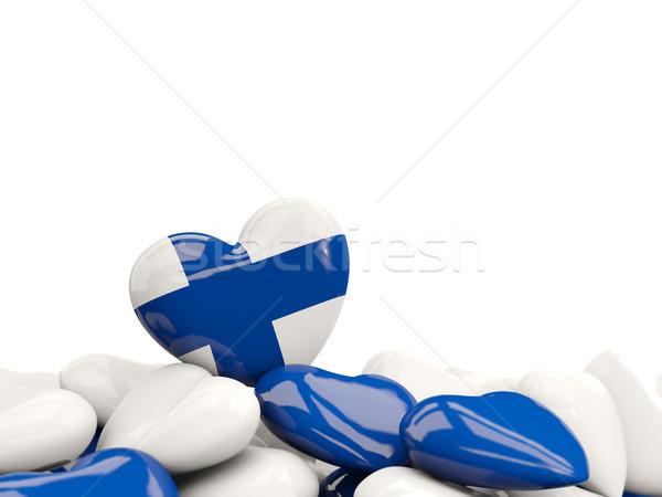 Coração bandeira Finlândia topo corações isolado Foto stock © MikhailMishchenko