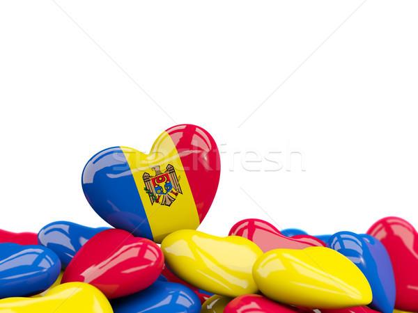 Szív zászló Moldova felső szívek izolált Stock fotó © MikhailMishchenko
