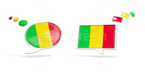 Iki sohbet simgeler bayrak Mali kare Stok fotoğraf © MikhailMishchenko