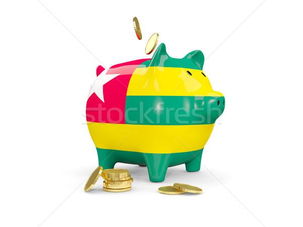 Tłuszczu banku piggy Togo ceny odizolowany biały Zdjęcia stock © MikhailMishchenko