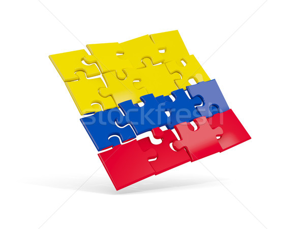 Puzzel vlag Colombia geïsoleerd witte 3d illustration Stockfoto © MikhailMishchenko