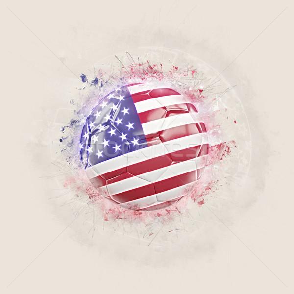 Grunge futbol bayrak Amerika Birleşik Devletleri Amerika 3d illustration Stok fotoğraf © MikhailMishchenko
