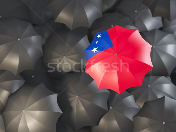 Guarda-chuva bandeira Samoa topo preto guarda-chuvas Foto stock © MikhailMishchenko