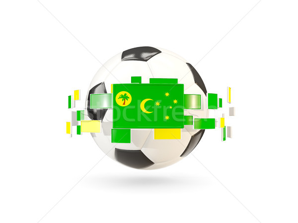 Soccer ball with line of flags. Flag of cocos islands Stock photo © MikhailMishchenko