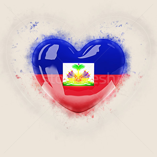 Hart vlag Haïti grunge 3d illustration reizen Stockfoto © MikhailMishchenko