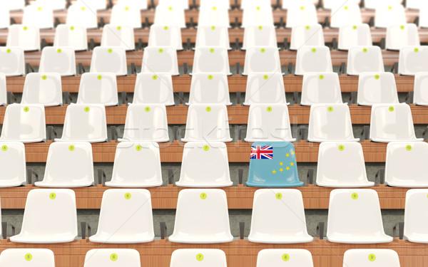 Estádio assento bandeira Tuvalu branco Foto stock © MikhailMishchenko