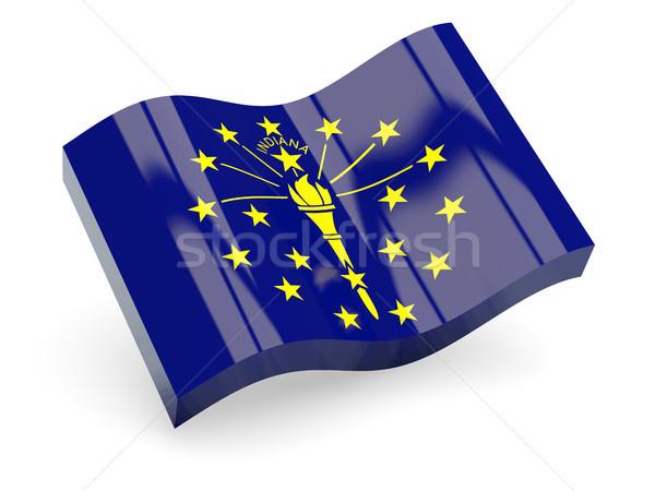 Hullámos ikon Indiana zászló USA Stock fotó © MikhailMishchenko
