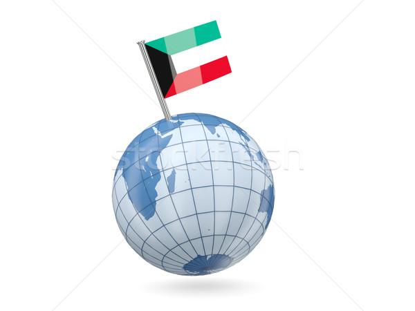 Wereldbol vlag Koeweit Blauw geïsoleerd witte Stockfoto © MikhailMishchenko