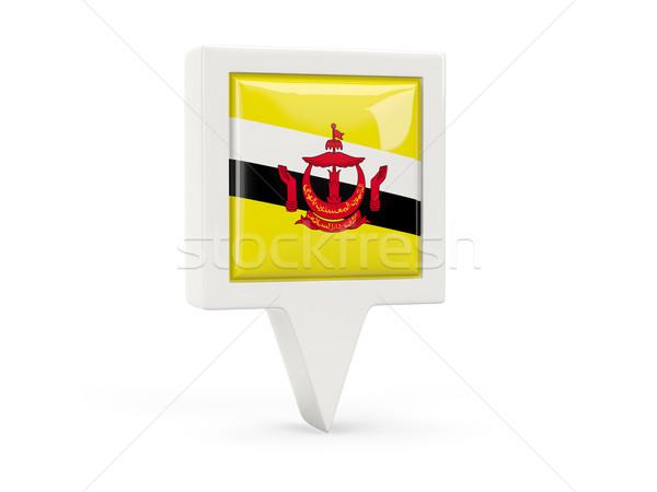Vierkante vlag icon Brunei geïsoleerd witte Stockfoto © MikhailMishchenko