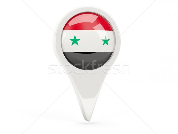 Bandeira ícone Síria isolado branco mapa Foto stock © MikhailMishchenko