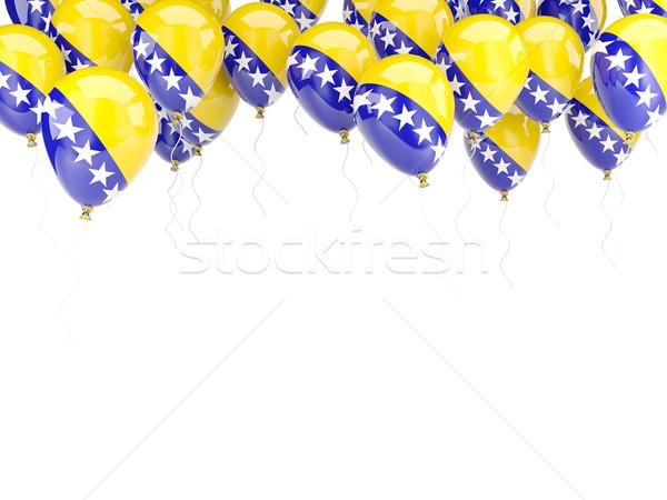 Globo marco bandera Bosnia Herzegovina aislado blanco Foto stock © MikhailMishchenko