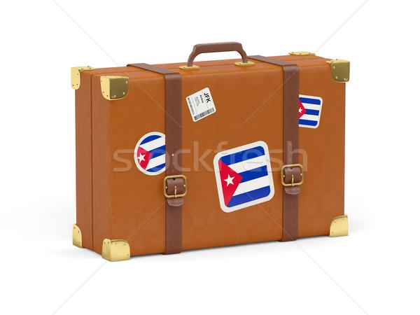 Bavul bayrak Küba seyahat yalıtılmış beyaz Stok fotoğraf © MikhailMishchenko