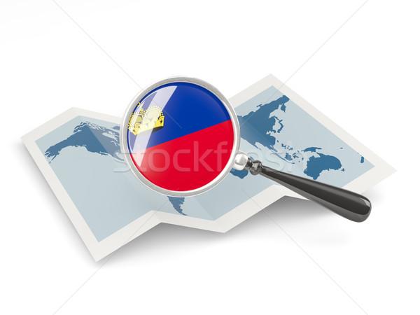 拡大された フラグ リヒテンシュタイン 地図 白 ストックフォト © MikhailMishchenko