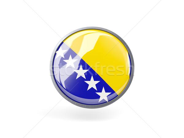 Icono bandera Bosnia Herzegovina metal marco viaje Foto stock © MikhailMishchenko