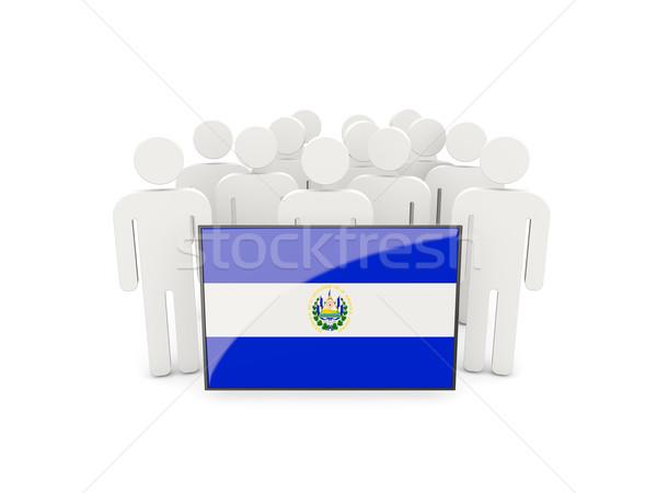 Pessoas bandeira El Salvador isolado branco multidão Foto stock © MikhailMishchenko