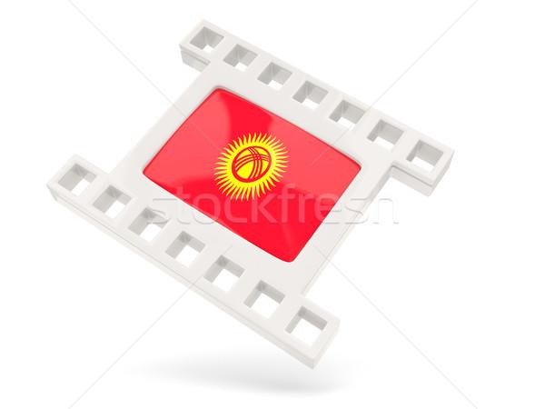 Film icon vlag Kirgizië geïsoleerd witte Stockfoto © MikhailMishchenko