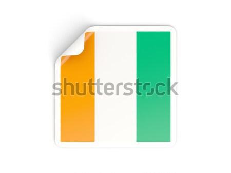 Piazza adesivo bandiera isolato bianco segno Foto d'archivio © MikhailMishchenko
