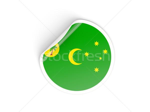 Round sticker with flag of cocos islands Stock photo © MikhailMishchenko