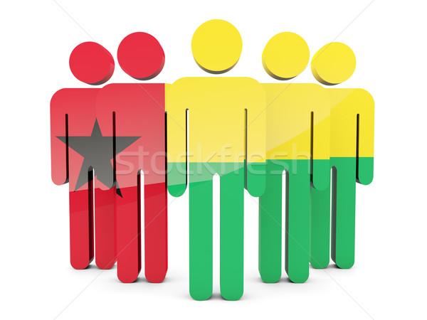 Ludzi banderą Gwinea odizolowany biały tłum Zdjęcia stock © MikhailMishchenko