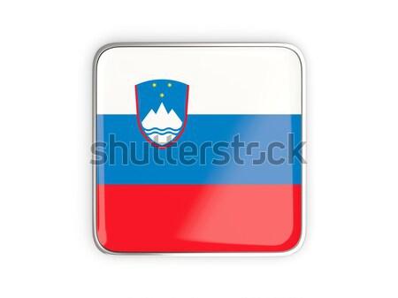 Gomb zászló Szlovénia fém keret utazás Stock fotó © MikhailMishchenko
